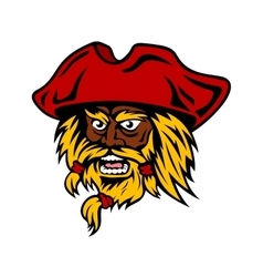 Cartoon bearded pirate captain in red hat vector