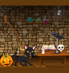 Cartoon black cat in the witch house vector