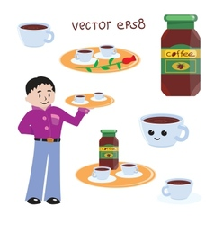 Cartoon Coffee Icons vector image