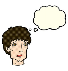 Cartoon worried man with thought bubble vector