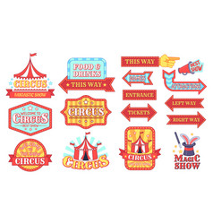 Circus labels carnival and circus show invitation vector