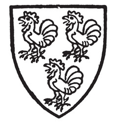 cockfield bore silver a three cocks gules vintage vector image