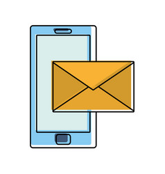 color smartphone technology with text letter vector image