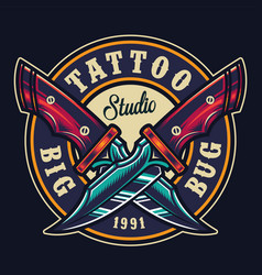 Colorful tattoo studio round print vector