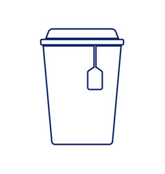 cup with tea sign royal blue linear icon vector image