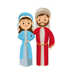 Cute cartoon couple virgin mary and joseph vector