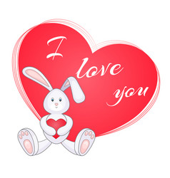 cute little bunny with red heart vector image