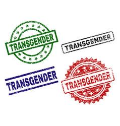 Damaged textured transgender seal stamps vector