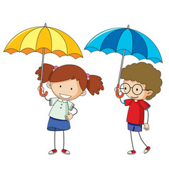 Doodle boy and girl with umbrella vector