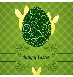 Easter greeting card with egg and abstract rabbit vector image