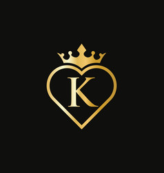 Elegant k logo with crown and love shape heart vector