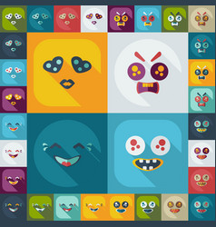 Flat concept set modern design with shadow smiley vector