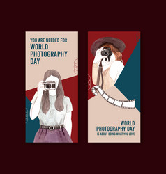 flyer template design with world photography day vector image