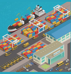 Freight barge harbor wharf isometric vector