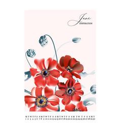 garden poppy flower template hand-drawn tender vector image