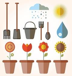 Garden set icons vector