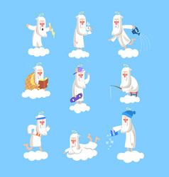 God character working days set vector