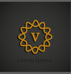 graphic golden v letter symbol on black background vector image