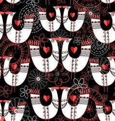 Graphic seamless pattern with birds in love heart vector image