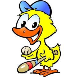 Hand-drawn an cute chicken bawith bassball vector