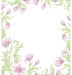 Hand drawn frame of tender pink flowers vector