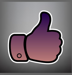 hand sign violet gradient vector image