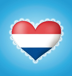 Heart shape flag of Holland vector