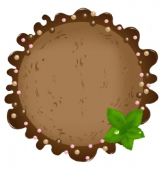 Ice-cream with mint leaves vector