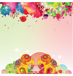 indian elephants pattern watercolor blots vector image