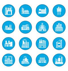 Industrial building factory icon blue vector