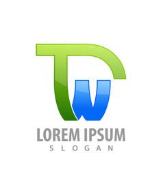 initial letter tw concept design symbol graphic vector image
