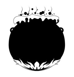 isolated witch cauldron with fire icon vector image