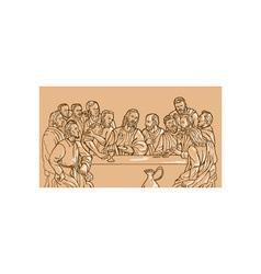 Last supper Jesus Christ savior disciples apostles vector