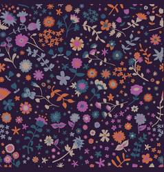 leaves and ditsy flowers repeat pattern vector image