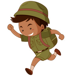 little boy in green costume with backpack vector image