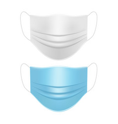 medical face masks white and blue mockup vector image
