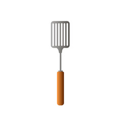 metal steel live fire spatula with wood handle vector image
