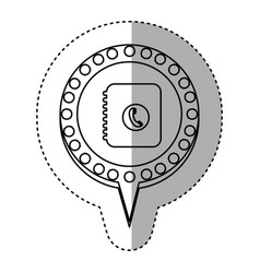 monochrome sticker with phone book and circular vector image vector image