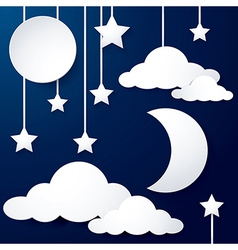 moon and cloud paper vector image