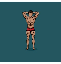 Muscled man body cartoon vector