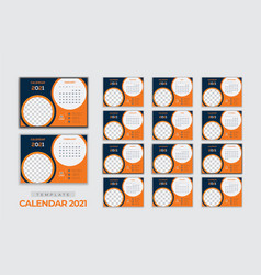 new year calendar 2021 desk and wall template vector image