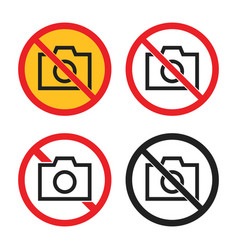 no photo icons set no camera signs vector image
