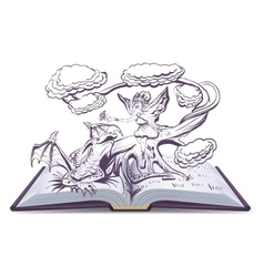 Open book with an Fantasy Elf Woman vector image