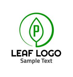 p leaf logo symbol icon sign vector image