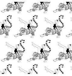 Pattern with hand drawn girl in vector