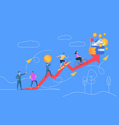 People going up to money red crooked arrow vector