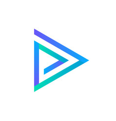 play icon abstract triangle button blue gradient vector image