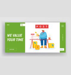 post office website landing page worker in vector image
