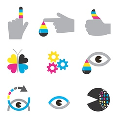 Print industry icons concepts vector