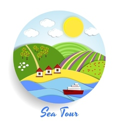Sea Tour eco emblem vector image